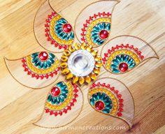 Rangoli floor art Ulta Pan Red/ Green set of 7 pieces by Nirman
