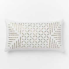 "Sequin Cutwork Pillow Cover – Multi Metallic (12""x21"")"