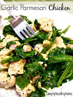 quick easy garlic parmesan chicken with spinach (use olive oil, instead of butter).