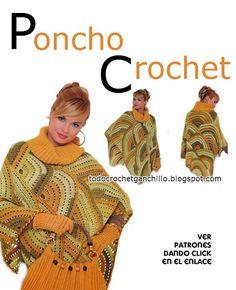 Patrones y moldes de poncho tejido al crochet con diseño de semicirculos con cartera crochet Poncho Shawl, Poncho Sweater, Capelet, Knitting Designs, Knitting Patterns, Crochet Shawl, Knit Crochet, Irish Crochet Patterns, Thread Work