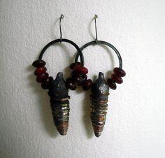 Hollow pod earrings in red by pipnmolly on Etsy, $48.00