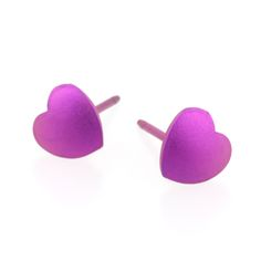ORDER NOW WITH WILKINS JEWELLERS - Heart shaped titanium stud earrings. Available in 12 colour options. Hypoallergenic and kind to sensitive skin. £20 www.ti2titanium.com