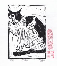 A Black and White Cat Hand Pulled Linoleum Block by ColorOnPaper, $20.00