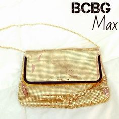 Gold sequined clutch Super cute BCBG gold sequined handbag.  Has a gold chain that can be hidden inside the bag for use as clutch or to use as a handbag. One sequin is missing in the back barely noticeable-pic 3.    Barely used - BCBG Bags Clutches & Wristlets
