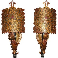Spanish Revival Wall Sconces w Mica Shields #antiquelighting www.rubylane.com