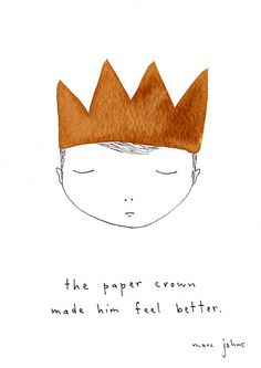 artist, Marc Johns: the paper crown made him feel better