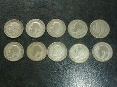 EN.aug. 1925 Sixpence 10 silver coins set-  condition used Silver Coins, Conditioner, Personalized Items, Ebay, Silver Quarters