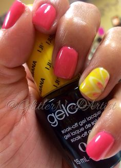 GlitterNailArtist| Fun summer nails!  Pink and yellow nails, hand painted nail art, nail art ideas, flower, OPI gel manicure, OPI Brazil collection colors