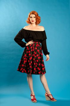Simply Sweet Skirt in Black Cherry Print   Pinup Girl Clothing