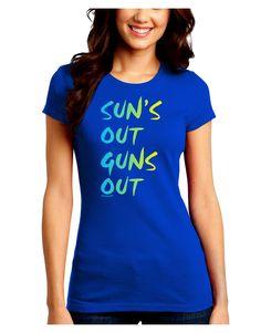 TooLoud Suns Out Guns Out - Gradient Colors Juniors Crew Dark T-Shirt