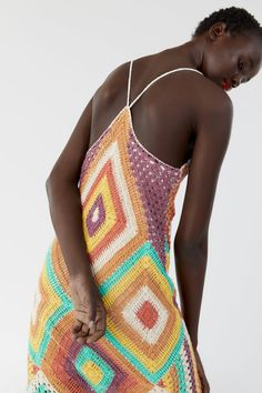 COLOURFUL CROCHET DRESS-NEW IN-WOMAN | ZARA United Kingdom Zara, V Neck Dress, New Dress, Oversized White Shirt, Crochet Fashion, Beautiful Crochet, Crochet Stitches, Hand Knitting, Knit Crochet