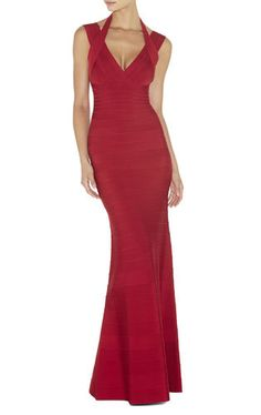 HERVE LEGER - LIPSTICK RED Red GOWN - Veronica Signature Bandage Dress