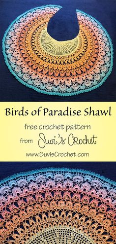 Birds of Paradise Shawl - free crochet pattern and charts from Suvi's Crochet. Difficulty: Intermediate ✦✦✦✦✧ Here is a free crochet pattern for my latest design: the Birds of Paradise Shawl. I started this shawl inspired by the gorgeous m Crochet Shawl Diagram, Crochet Shawl Free, Crochet Gratis, Crochet Shawls And Wraps, One Skein Crochet, Crochet Stitches, Crochet Patterns, Crochet Birds, Stitch Patterns