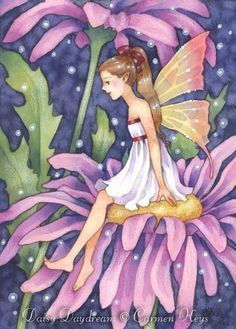 Fairy art by Carmen Keys Medlin. A young fairy girl is sitting atop some purple daisies, daydreaming of adventures she'd like to have. Forest Fairy, Fairy Land, Magical Creatures, Fantasy Creatures, Unicorns And Mermaids, Love Fairy, Flower Fairies, Art Portfolio, Faeries