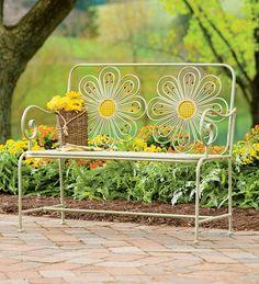 Retro Iron Flower Garden Bench With Distressed Finish