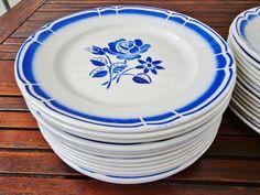 Badonviller, Fleur Bleue, plat bord, wit met blauwe bloemen, 1930, Frans porselein door Albaterra op Etsy
