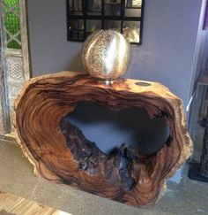 Wood Tree Slab with Hole