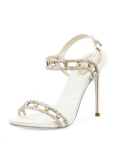 silver crystal wedding shoe