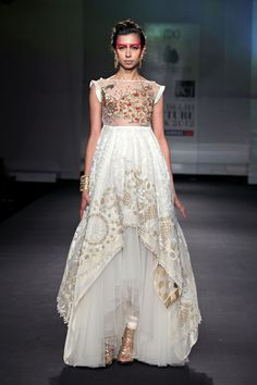 """Lovely embroidery on a white anarkali. #WIFW"" -OP   I love the bottom half of the dress, that would be a lot prettier with a matching, simple lace strapless corset top"