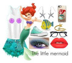 """""""The little mermaid"""" by lottie2004 ❤ liked on Polyvore featuring Casetify, Alex and Ani, Converse, Danielle Nicole, Lime Crime, Urban Decay, thelittlemermaid, ariel and disneybound"""
