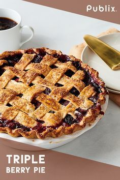 With Publix, learn to how to make delicious, homemade triple berry pie. Thanksgiving Recipes, Fall Recipes, Holiday Recipes, Easy Desserts, Delicious Desserts, Yummy Food, Pie Dessert, Dessert Recipes, Triple Berry Pie