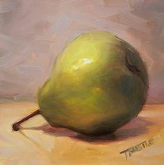 Art Original Oil Painting Fruit Green Pear Still by PattiTrostle