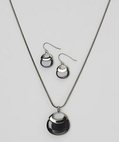 Look at this #zulilyfind! Black & Silver Circle Pendant Necklace & Earring Set #zulilyfinds