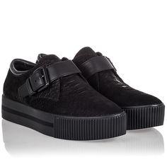Ash Kiss Womens Sneaker Black Snake Print Leather 340597 (002)