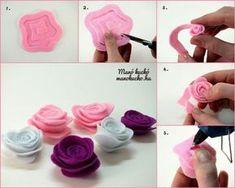 Easy Felt Crafts, Felt Diy, Diy And Crafts, Paper Flowers Diy, Flower Crafts, Fabric Flowers, Diy Hair Bows, Diy Bow, Felt Roses