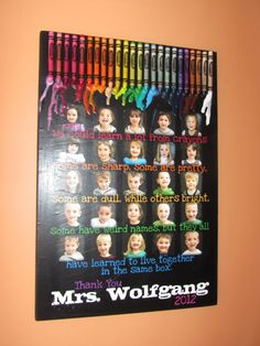 """TEACHER GIFT- Personalized PHOTO Giclee MoUNTED prints- custom made to order- 13"""" x 19"""" with melted crayons. $100.00, via Etsy."""