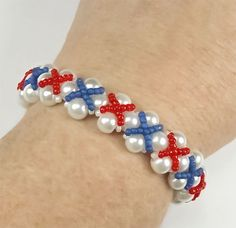 Patriotic Jewelry Red White Pearl Blue by PixieDustFineriesToo