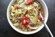 Italian White Bean, Cabbage, and Sausage Soup (ready in 30 minutes or less!) recipe by Barefeet In The Kitchen
