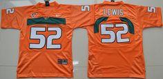 Youth Miami Hurricanes Ray Lewis 52 College Football Jersey - Orange