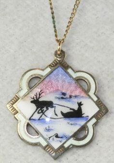 Vtg Norway Norne Sterling Silver Enamel Reindeer Sled Necklace   eBay