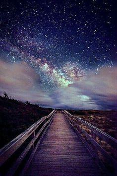 Beach boardwalk to the sea & stars