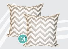 Two Grey Chevron Pillow Covers 16 x 16 14 x 14 Lumbar  by motion52, $26.00