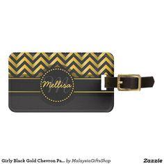 Girly Black Gold Chevron Pattern Monogram Tag For Luggage