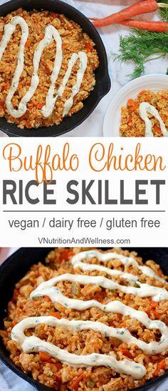Vegan Buffalo Chicken Rice Skillet | Vegan chicken, brown rice & veggies make a perfect football meal! vegan recipe, buffalo chicken via @VNutritionist