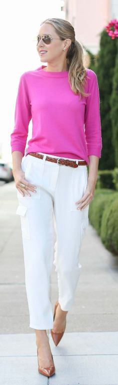 ivory cargo pants, fuchsia crewneck sweater with nude pointy toe pumps + braided belt {ann taylor, j. crew}