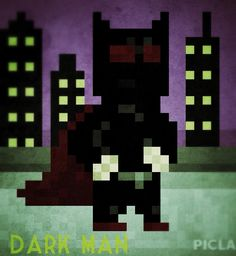 Dark Man ( not officially named) 8 Bit Art, Dark Men, Robots, Minis, Fictional Characters, Robotics, Robot, Miniatures, Fantasy Characters
