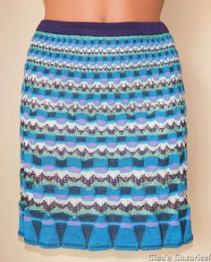 NWT Women's 2 Mini Skirt MISSONI Italy Knit Wool Teal Purple Cream $425 #Missoni #Mini