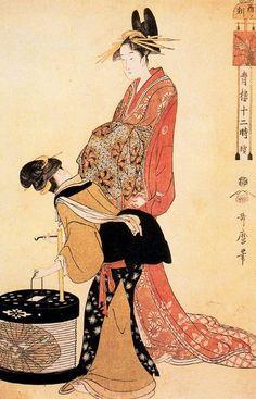 Utamaro the-hour-of-the-dog. Japanese Art Modern, Japanese Artwork, Japanese Prints, Arte Latina, Art Occidental, Art Chinois, Japan Painting, Art Asiatique, Art Japonais