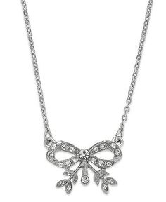 Downton Abbey Necklace, Silver-Tone Crystal Bow Pendant Necklace - Fashion Jewelry - Jewelry & Watches - Macy's