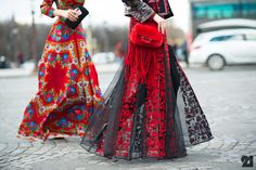 Valentino skirt during Paris Fashion Week