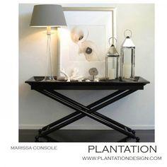 Plantation Design -- Furnishings.  Great vignette for a modern coastal look!