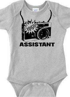 b/gr camera assistant photographer  baby onesie creeper bodysuit t shirt  clothes infant unique & trendy. $19.00, via Etsy.