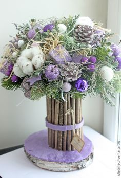 Купить Сиреневый букет - сиреневый, зимний букет, украшение интерьера, Новый Год, подарок