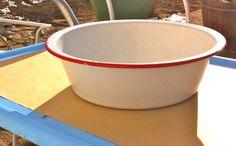 White & Red Enamel Bowl / Dish