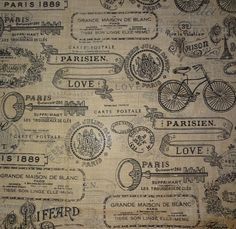 Utility Fabric- Paris Stamp Burlap