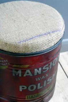 Recycled Oil Tin Stool - Mansion Wax Polish. rockett st george